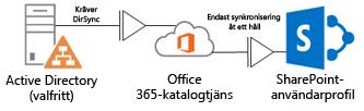 Diagram som visar hur DirSync används med en lokal Active Directory-tjänst för att mata in profilinformation i Office 365-katalogtjänsten, vilken i i sin tur matar in SharePoint Online-profilen