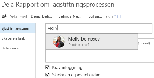 Skärmbild som visar fildelning i OneDrive för företag