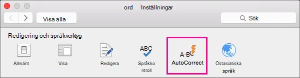 I Inställningar i Word klickar du på Autokorrigera för att ändra vad autokorrigeringen ändrar i dokumentet.