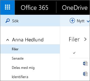 Skärmbild som visar vyn Filer i OneDrive för företag