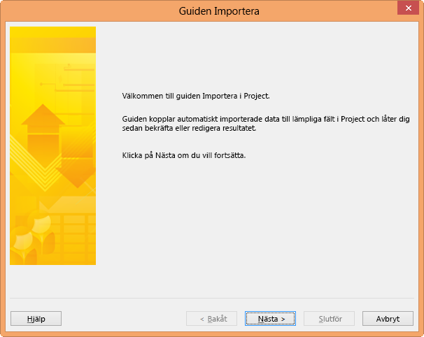 Guiden Importera i Project