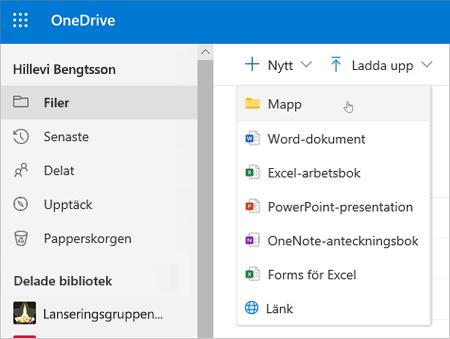 Skapa mapp i OneDrive