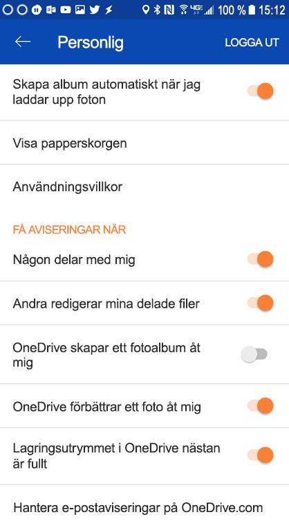 Gå till inställningarna för din OneDrive för Android-appen för att ange inställningar för meddelanden.