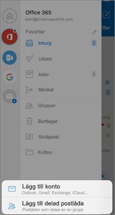 Skärmen Inställningar för Outlook med alternativet Lägg till delad post låda