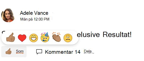 Skärmbild som visar val av en ton för Yammer-reaktioner