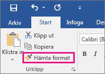 Visar knappen Hämta format på fliken Start i Word