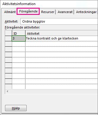 Rutan Aktivitetsinformation med fliken Föregående.