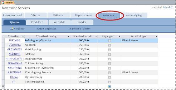 Fliken Avancerat i databasmallen Tjänster
