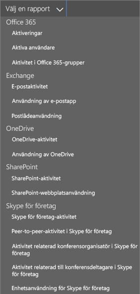 Office 365 – välj tillgängliga rapporter