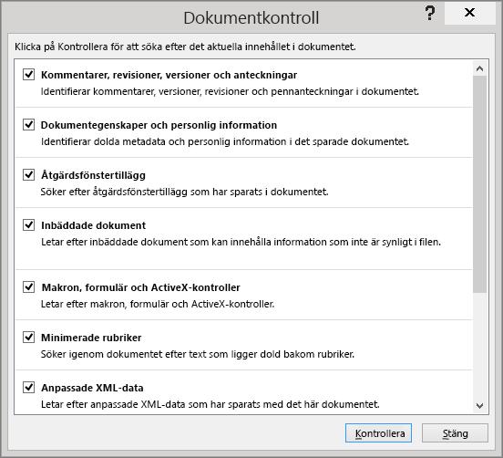 Alternativen i dialogrutan Dokumentkontroll visas