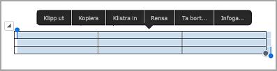 kommando fält för iPad-tabell