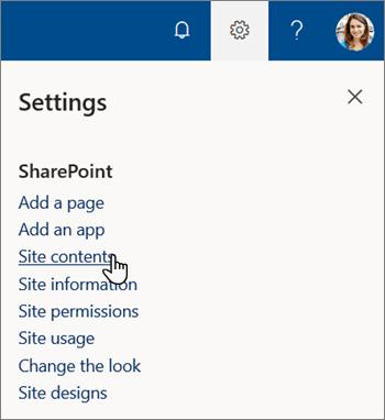 Menyn Inställningar i SharePoint, med webbplats innehåll markerat
