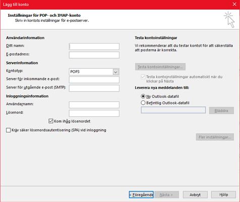 Ange din POP- eller IMAP-serverinformation