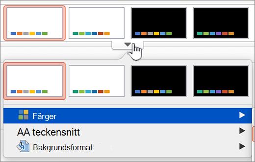 Klicka för att visa fler alternativ för sidfärger i teman