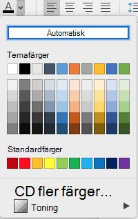 Menyn teckensnitt färg i Word för Mac