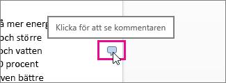 Klicka för att visa kommentarer i Word Online