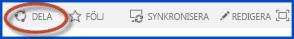 Skärmbild av kontrollknapparna för webbplatsen på en gruppwebbplats. Knappen Dela är inringad