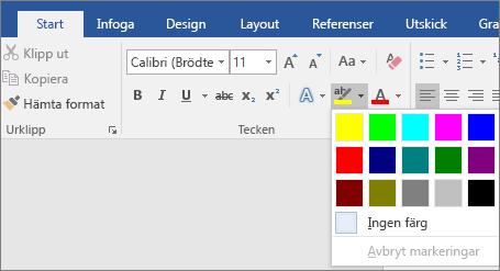 Alternativen för Markeringsfärg för text visas på fliken Start.