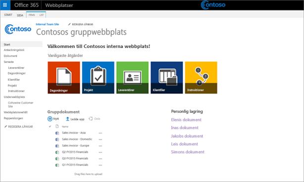En skärmbild av en anpassad gruppwebbplats med en underwebbplats