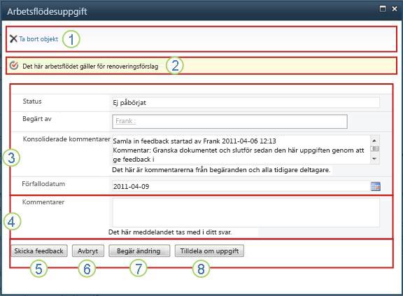 Uppgiftsformuläret för insamling av feedback med markerade fält