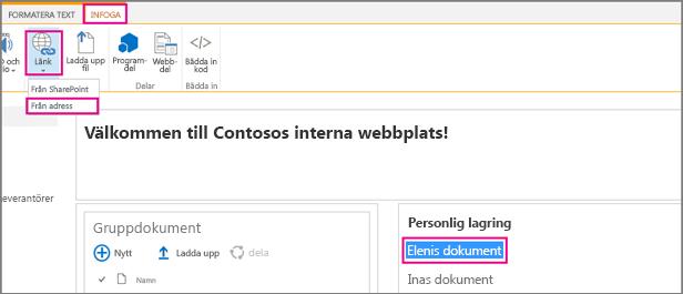 Markera text och klicka sedan på Infoga, Länk.