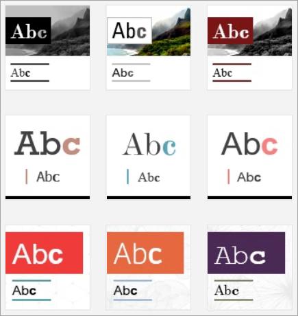 Skärmbild av Sway-designminiatyrer.