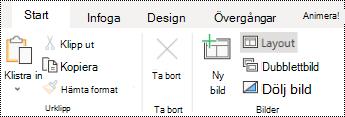 Knappen layout på fliken Start i PowerPoint Online.