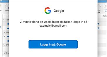 Dialogruta från Google som uppmanar användaren att logga in