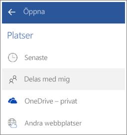 Skärmbild av hur du visar filer som andra har delat med dig i Android.