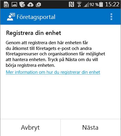 Registrera företagsportal på Android