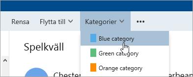 En skärmbild av knappen kategorier