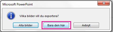 Klicka på Bara den här när du tillfrågas vilken bild du vill exportera.