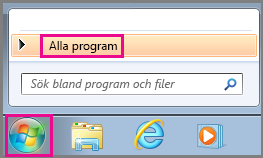 Sök efter Office-program med Alla program i Windows 7