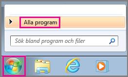 Sök efter Office-program med Alla program i Windows 7