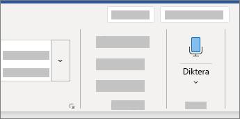 Visar användargränssnittet för diktering i Word