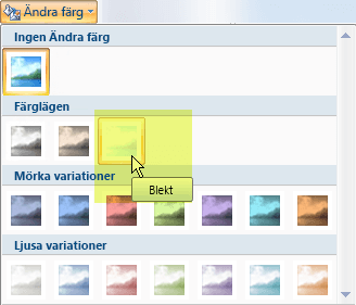 Välj knappen Ändra färg och sedan under Färglägen väljer du alternativet Blekt
