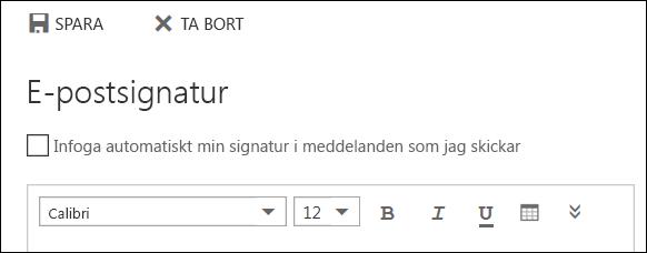Meddelande i e-postsignaturen för Outlook på webben