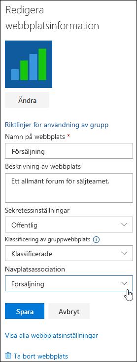 Associera en SharePoint-webbplats med en navwebbplats