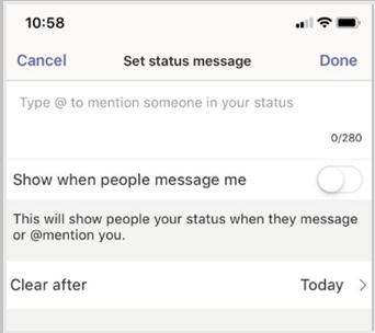 Ange meddelande status och välj klar.