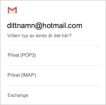 Välj Exchange