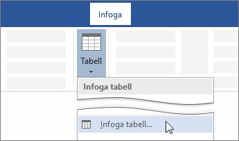 Alternativ för att infoga tabell i menyfliksområdet i Word