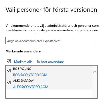 Office 365-program för släppta funktioner, lägg till användare