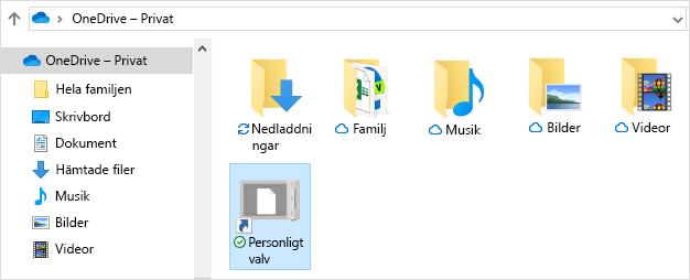 Genväg till personligt valv i OneDrive