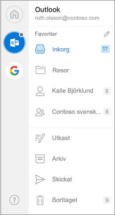 Navigerings fönstret i Outlook med favoriter överst på sidan