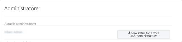 Skärmbild som visar ett verifierat administratörskonto som synkroniseras som global administratör i Office 365