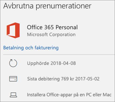 Visar en Office 365-prenumeration som har gått ut