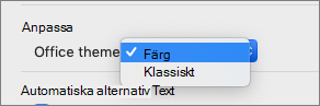 Office-tema nedrullningsbar listruta där användaren kan välja färg eller klassiskt tema