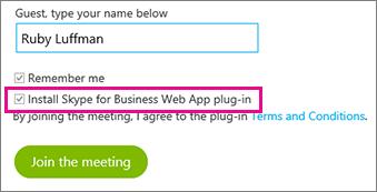 """Kontrollera att pluginprogrammet """"Installera Skype för företag – Web App"""" är markerat"""