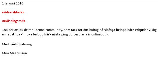 """Exempel på dokumentkopplingsbrev i Word som visar fälten """"adressblock"""" och """"hälsningsrad""""."""