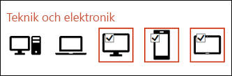 Du kan infoga flera ikonerna genom att klicka en gång på var och en av dem.